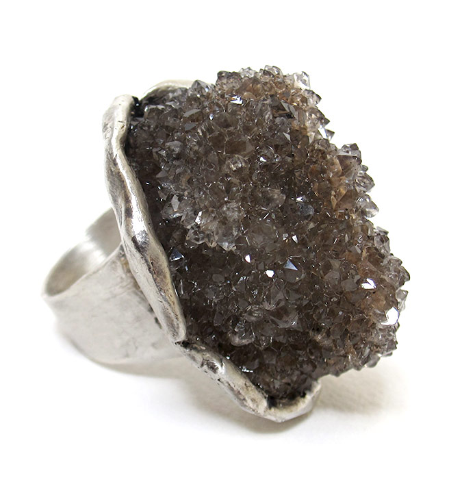 susan ritter herkimer diamond druzy ring