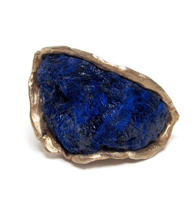 susan ritter raw azurite ring