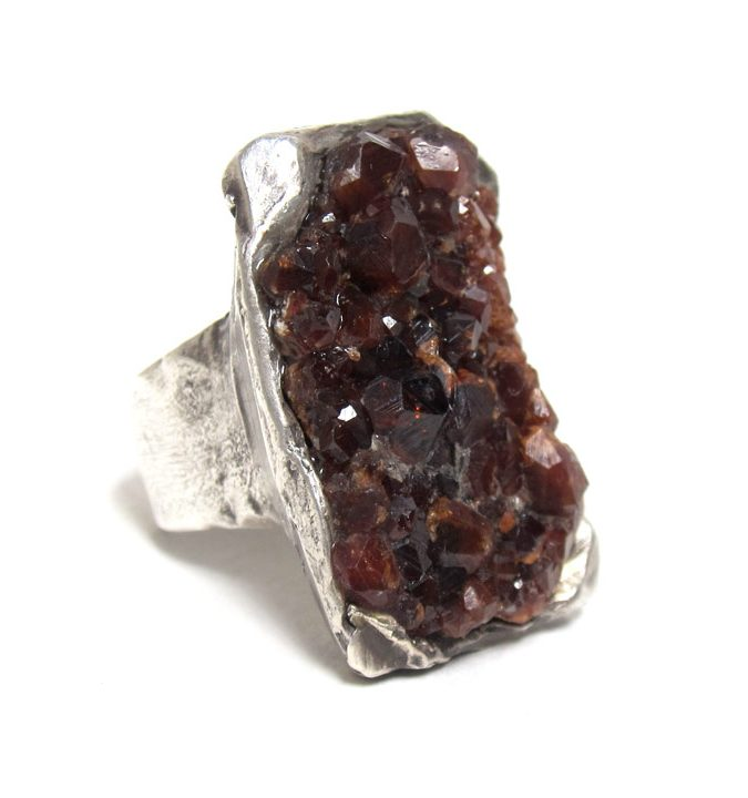 susan ritter raw spessartine garnet ring